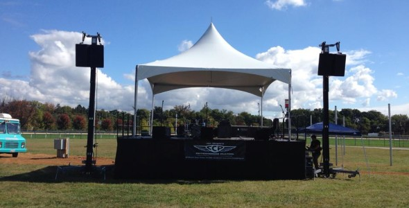 20'x20' Bil Jax Stage with 20x20 High peak tent
