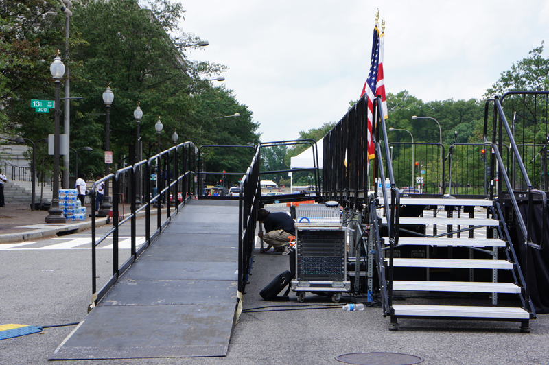ADA Wheelchair Access Ramp at the 9/11 Remembrance Event at Freedom Plaza in Washinton D.C(www.klassicsound.com) Maryland Pro Audio and Staging rental company
