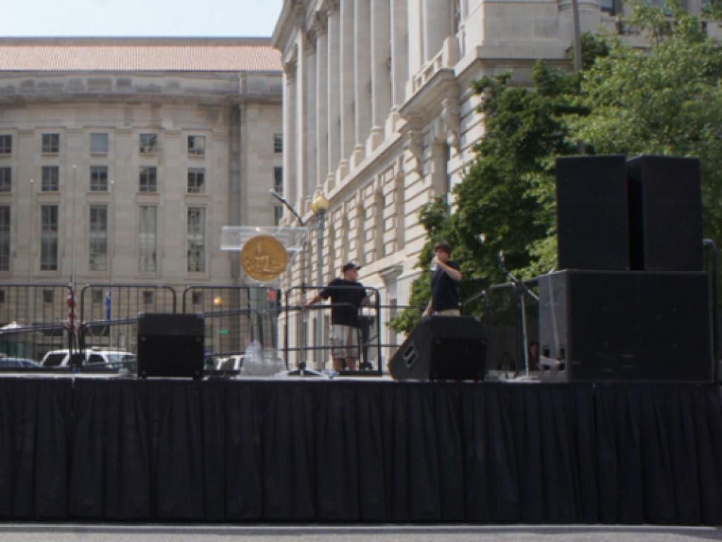 Modular BilJax Stage with EAW Sound System and Zahn Thug Subwoofers in Washington