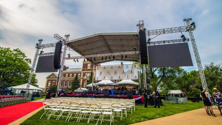 large truss roof and audio video equipment set-up for a graduation ceremony