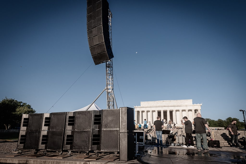 Epic shot of the clair line array flown from a CM 1 ton chain motor on our Line array towers