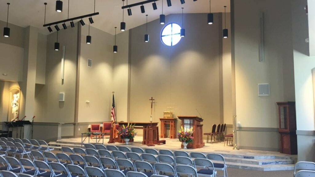Church sound system installation in Maryland.