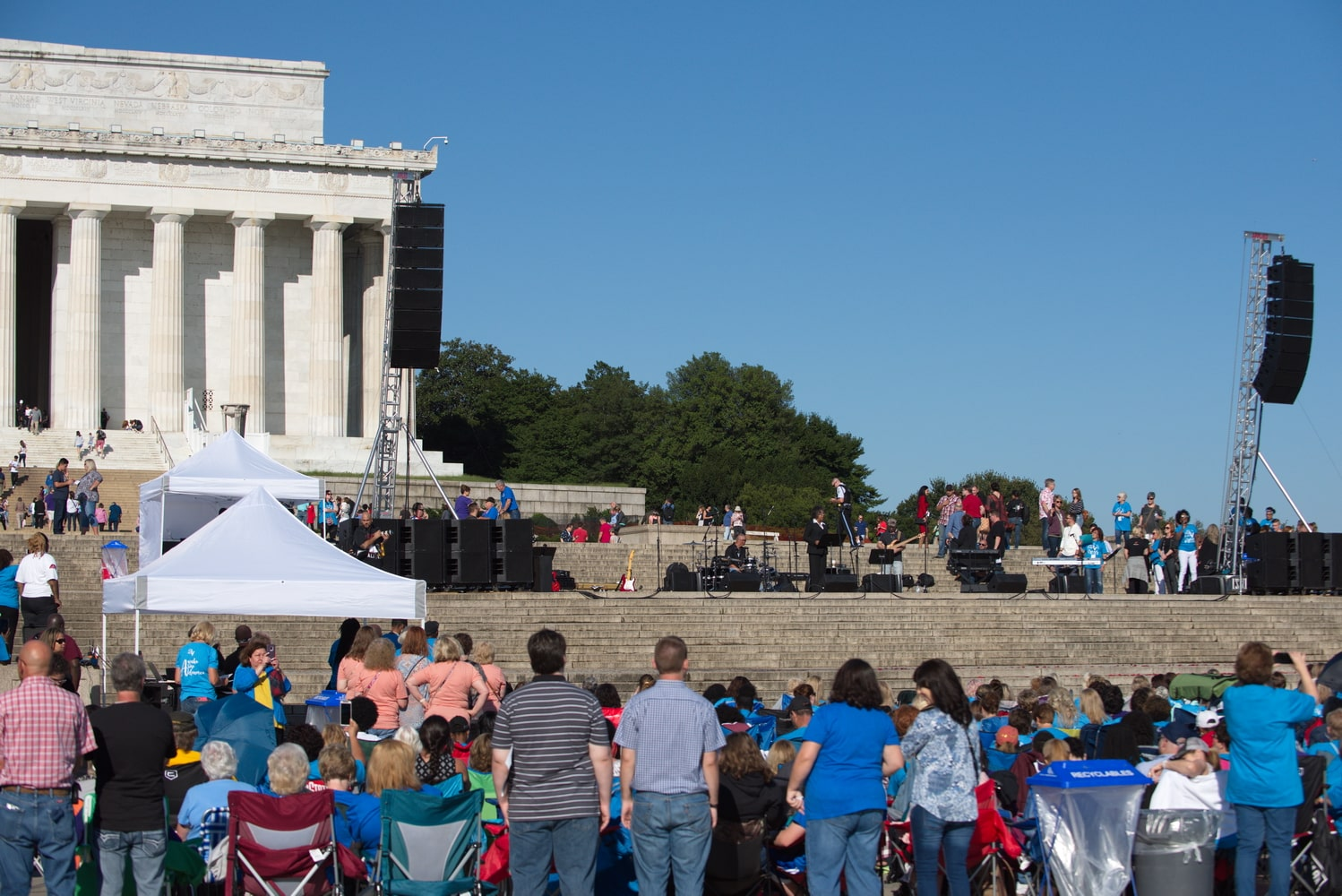 spectators enjoy live music during this rally at the Lincoln memorial in Washington DC