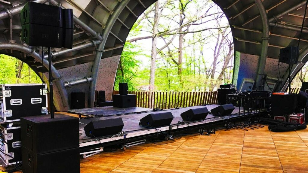 medium sized sound system for grand opening event for the chrysalis at Merriweather post pavilion in Columbia Maryland