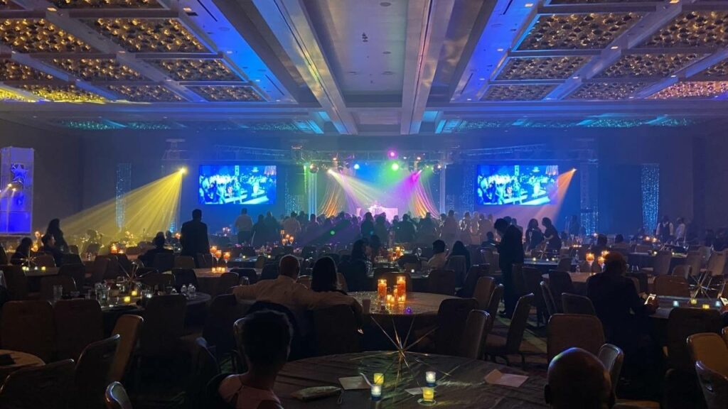 Corporate holiday party at the Marriot Hotel ballroom in Washington DC