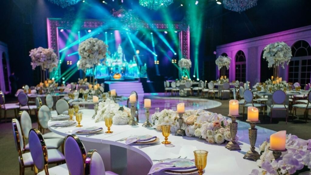 Custom stage lighting design for a private event inside of a hotel ballroom