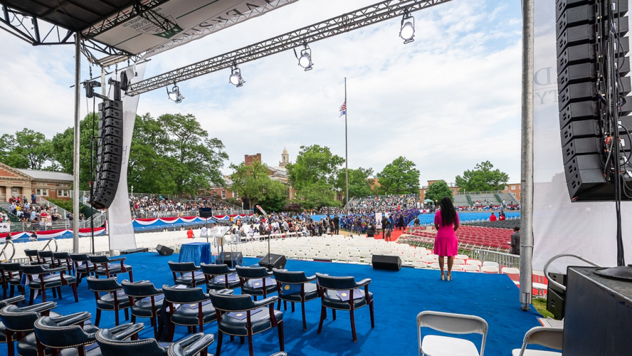 An on stage look at the Yard during graduation season at Howard University in the district of Columbia.