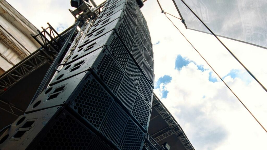 an upclose look at our Clair global line array hanging from our self climbing truss roof.