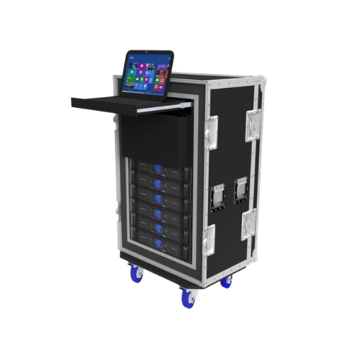 CAD rendering of digital amplifier rack used with a professional line array system