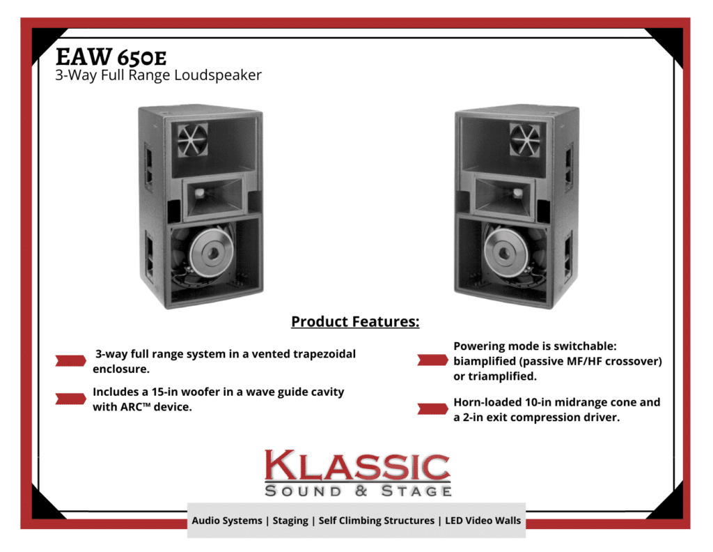klassic sound and stage created a product feature for the eaw speakers available to rent in MD, DC and VA