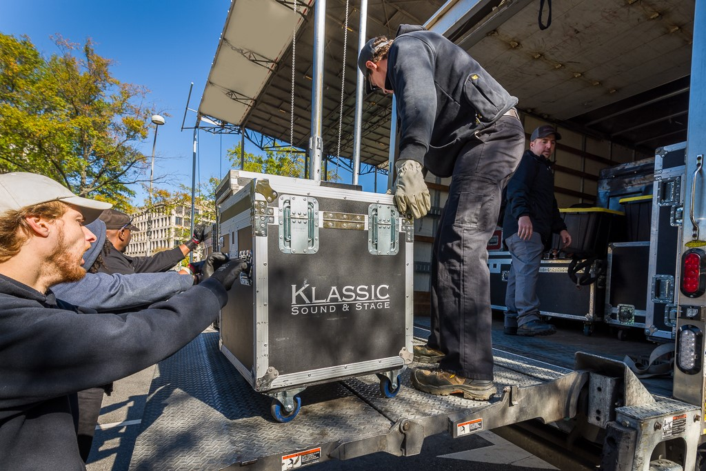 Klassic sound and stage crew unloading the first road cases for audio set-up in Washington DC