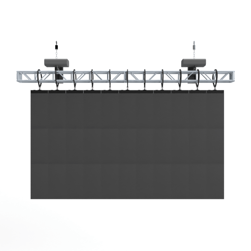 3D computer aided design rendering of a LED video wall that is flown from a span of truss on chain motors.