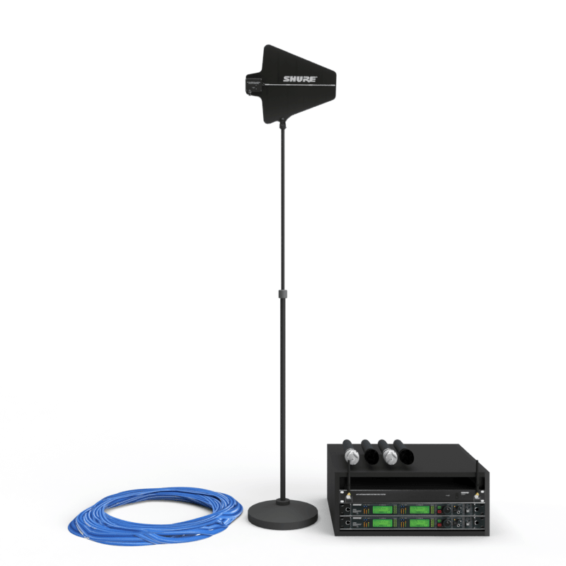 CAD rendering of shure wireless microphones available to rent.